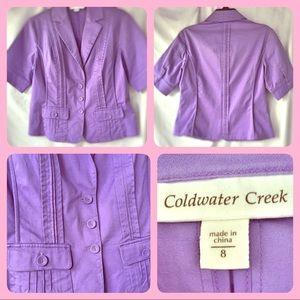 Lilac Crop Blazer Pockets Short Heart Neckline 8